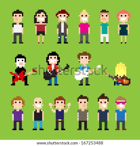 Pixel art guitar players and people - stock vector