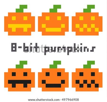Pixel Art Halloween Pumpkins Set Isolated Stock Vector 497966908 ...