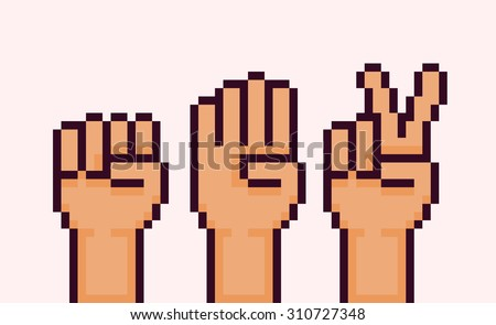 Pixel art hands showing rock paper scissors game gestures