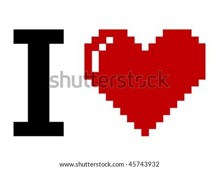 pixel art i love you - stock vector