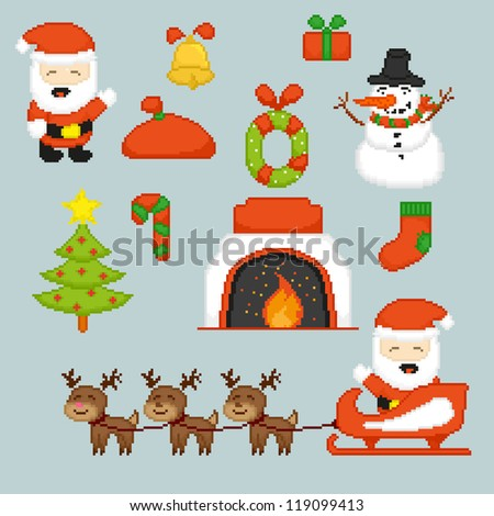 Pixel art icons for Christmas holidays, vector illustration