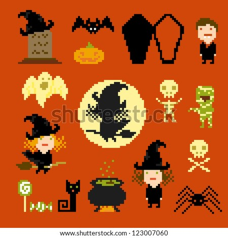 Pixel art icons for halloween, vector - stock vector