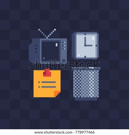 Pixel art icons retro tv alarm stock vector hd royalty free retro tv alarm clock data list and pin empty thecheapjerseys Images