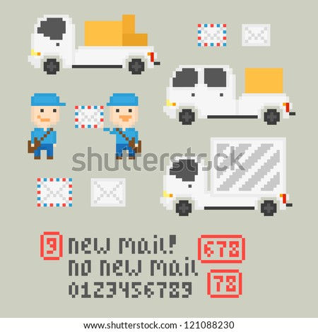 Pixel art icons with mail service, vector - stock vector