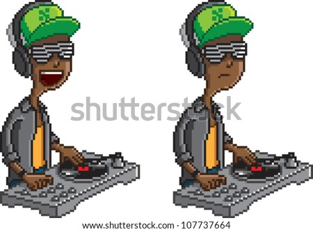 Pixel art illustration of a DJ scratching a record on a turntable, isolated on white. Includes two poses, one laughing, and one serious. - stock vector