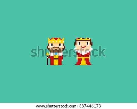 Pixel art king and queen characters, isolated on green background