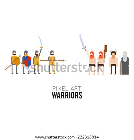 Pixel art medieval warriors and barbarians ready to fight - stock vector