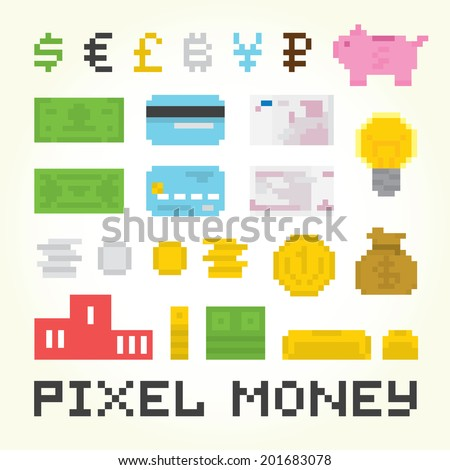 Pixel art money vector isolated objects set - stock vector
