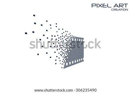 Pixel art movie logo on white background. - stock vector