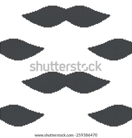 pixel art mustache seamless pattern - stock vector