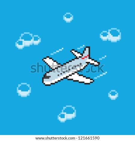 pixel art plane - stock vector