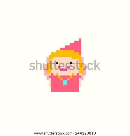 Pixel art smiling princess isolated on white background - stock vector