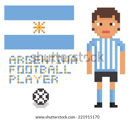 pixel art soccer or football argentina player, flag and ball - stock vector