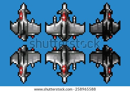 pixel art space ship animation set - 8 bit style vector illustration - stock vector