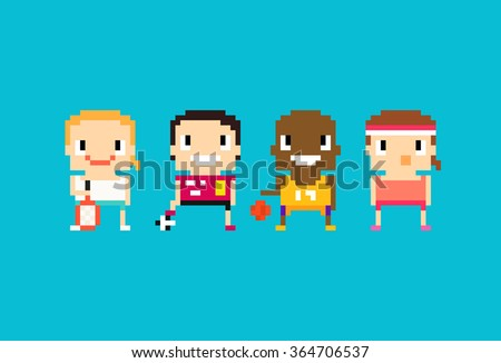 Pixel art sport characters for tennis, soccer, football, basketball and fitness
