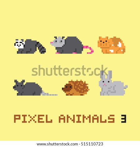Pixel art style animals cartoon vector set 3