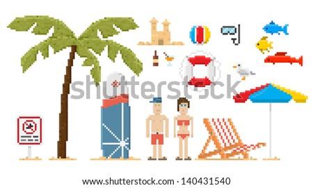 Pixel art style beach set. Vector illustration. - stock vector