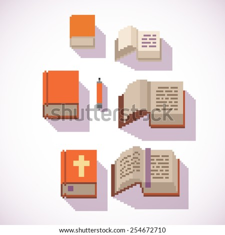 pixel art style closed and open book icons set, isolated vector illustration on a white background. - stock vector