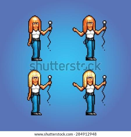 pixel art style girl rock star singing vector illustration - stock vector