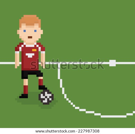 pixel art style illustration football soccer player on green field near white line holding the ball with his leg - stock vector