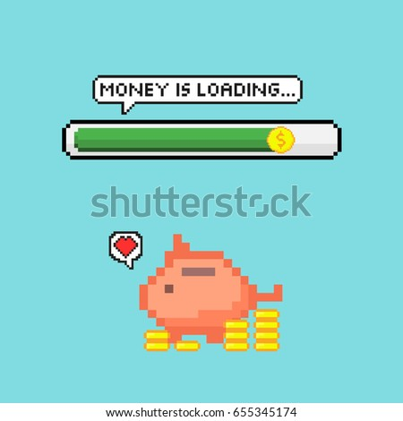 pixel art style money is loading bar with piggy bank vector