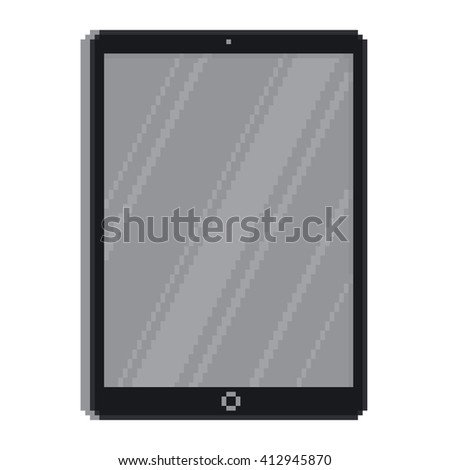 Pixel art style tablet gadget isolated vector illustration