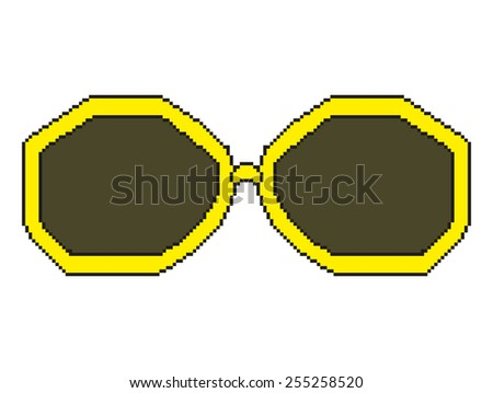 pixel art sunglasses with yellow rim - stock vector