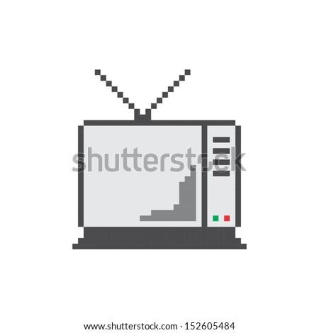 pixel art television - stock vector