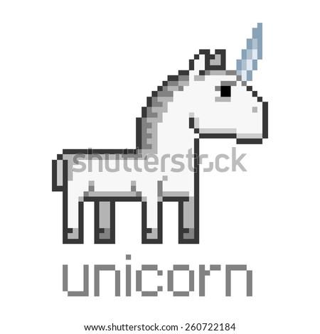 Pixel art unicorn - stock vector