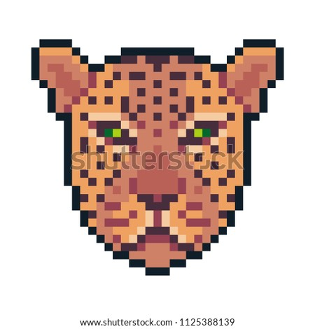 Pixel art vector cheetah isolated on white background.