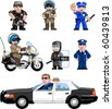 Pixel art Vector illustration of police. Artwork is composed of editable vector squares. Artwork is clearly and crisply readable in both large and tiny sizes. - stock vector