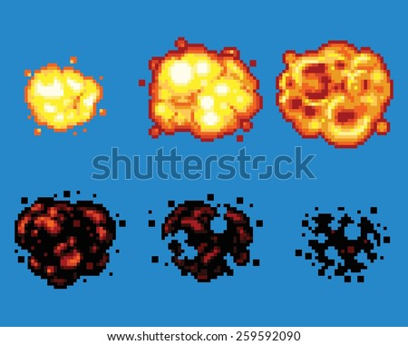 Pixel Art Video Game Explosion Animation Vector Frames Isolated - stock vector