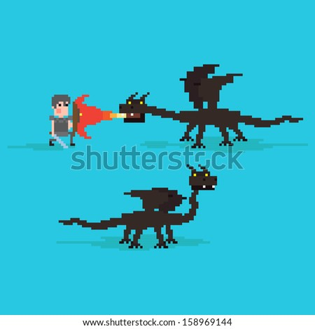 Pixel art warrior fighting against the dragon - stock vector