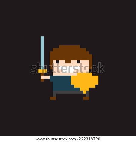 Pixel art young warrior character in helmet with sword and shield - stock vector