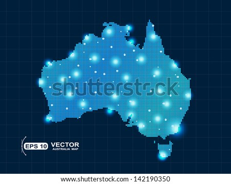 pixel Australia map with spot lights - stock vector