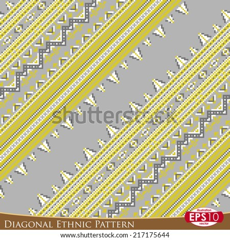 Pixel based vector abstract seamless pattern. 45 degrees diagonal illustration of color lines and ornate.