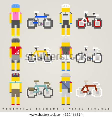 Pixel bicycle illustration - stock vector