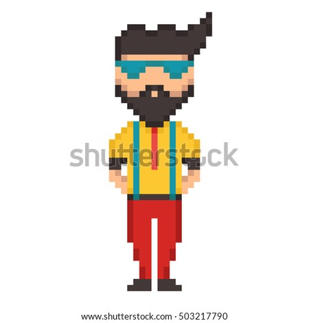 Pixel 8 bit young guy character hipster vector isolated illustration