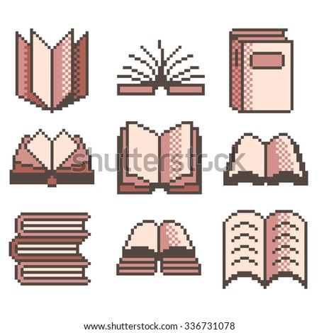 Pixel books for games icons high detailed vector set - stock vector
