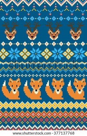 Pixel bright seamless winter pattern with stylized foxes and deers. Vector illustration. - stock vector
