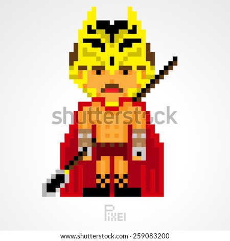 pixel character fighter spartan with spear weapons vector - stock vector