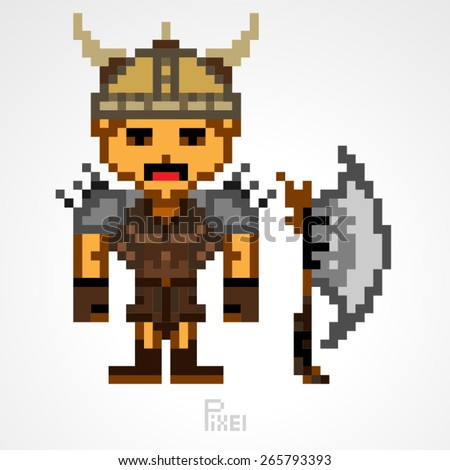 pixel character fighter viking  with great axe vector