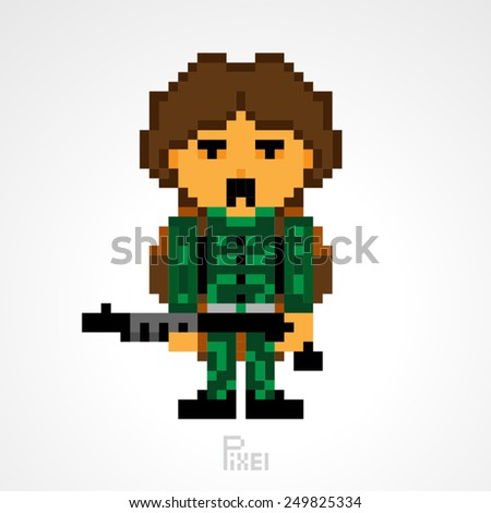 pixel character survival soldiers man with gun weapon vector