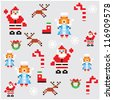 pixel characters christmas design. Seamless pattern background vector illustration. - stock vector