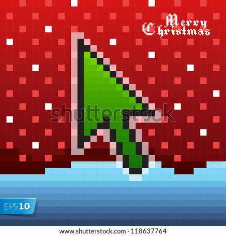 Pixel Christmas card, vector Eps 10 illustration. - stock vector