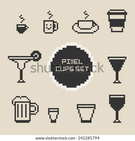 Pixel cups and glasses set - stock vector