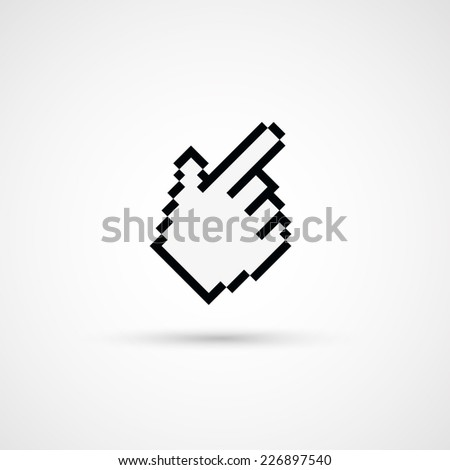 Pixel cursor icon - Cursor hand.Vector Illustration. - stock vector
