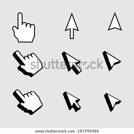 Pixel cursors icons - stock vector