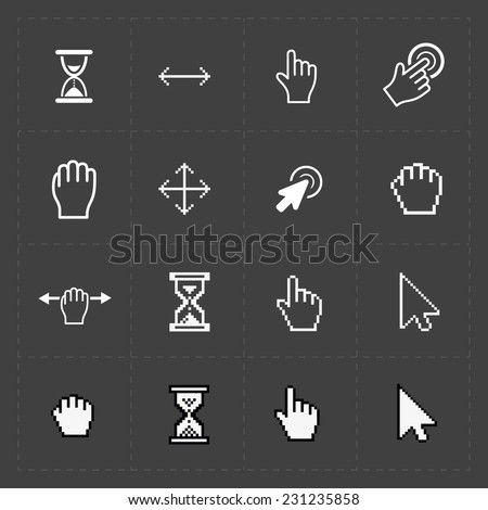 Pixel cursors icons on black.Vector Illustration. - stock vector