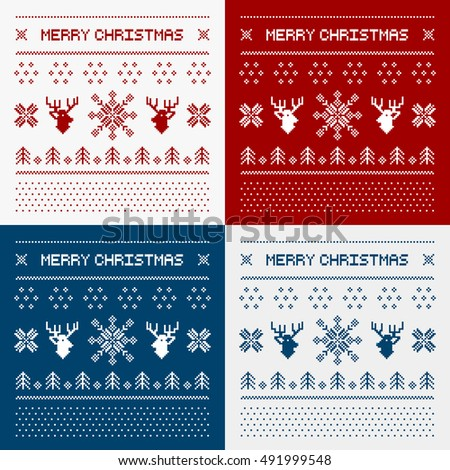 Pixel deers and christmas trees on the white background. Christmas winter pattern set print for jersey or t-shirt
